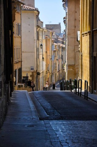 Looking down a street in Marseilles