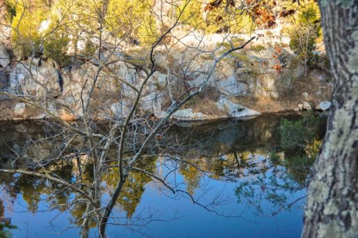 Looking through leafless tree branches across the lake to evergreen trees atop a rocky bluff, all reflected in the deep blue water.
