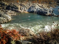 From a rocky bluff overlooking the Potomac River Gorge, two kayakers practice their skills in the quieter waters bordering the rapids.