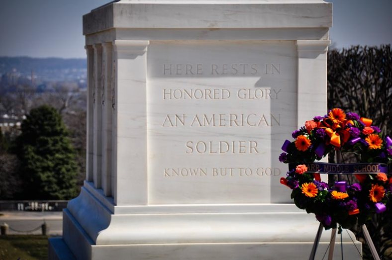 "A view of the epitaph on the Tomb: ""Here Rests in Honored Glory an American Soldier Known But to God"""