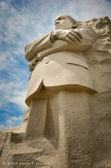 Looking slightly from the side and upwards from the ground to the top of the MLK Jr. Memorial.