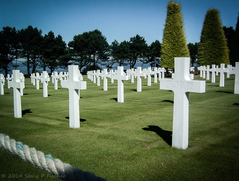 The white crosses aligned in rows against deep green grass and deep blue ocean.