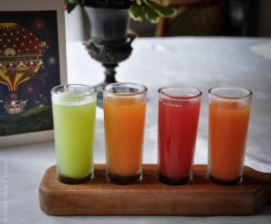 4 small glasses of freshly squeezed fruit juice