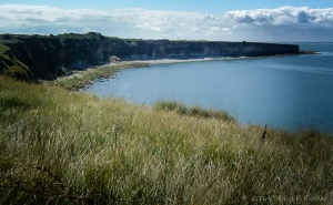 From atop the cliffs, looking down onto a portion of the D-Day beaches.