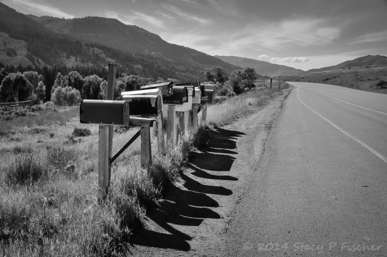 A row of mismatched rural mailboxes on posts and their shadows alongside a long two-lane road that winds into mountains in the distance.