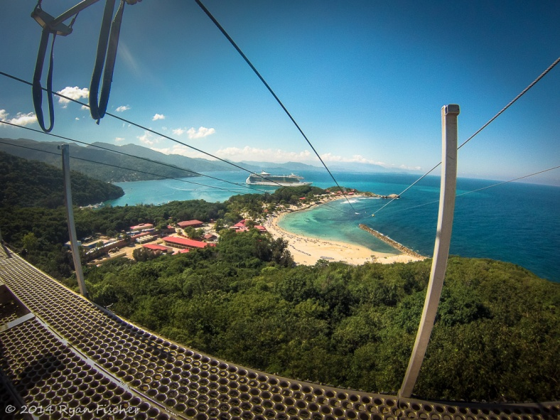 Looking from the platform of the zipline to the beach and cruise ship in the distance in Labadee, Haiti.