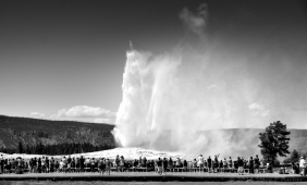 Old Faithful Geyser in mid-eruption