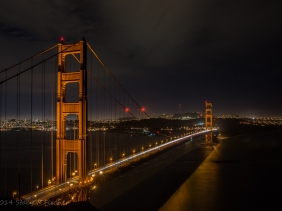 A night view of the Golden Gate and San Francisco from Battery Spencer, north of the city.