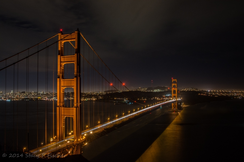 Golden Gate Bridge at night, from Battery Spencer.