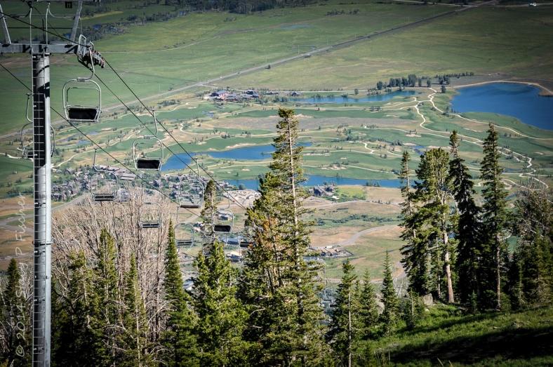 Ski Lift, Teton Village, Wyoming viewed from The Deck