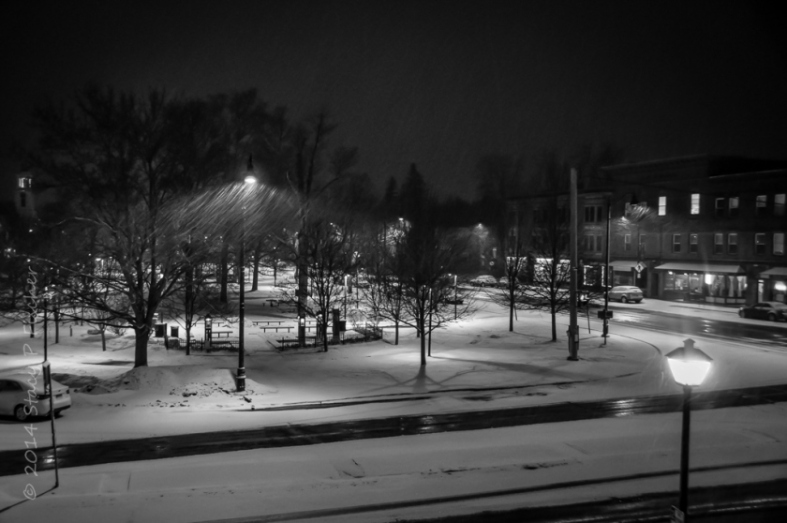 Nighttime snowfall, Village Green, Hamilton, New York