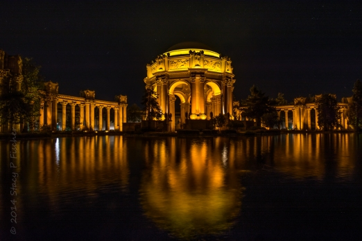 Night shot of Palace of Fine Arts, San Francisco.