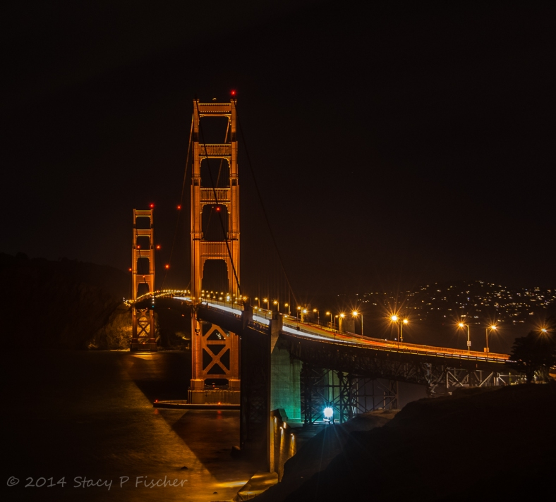 Golden Gate at night looking north from Battery Godfrey