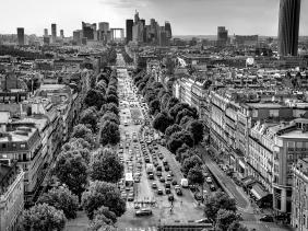 La Defense and Avenue de la Grande Armee from atop Arc de Triomphe