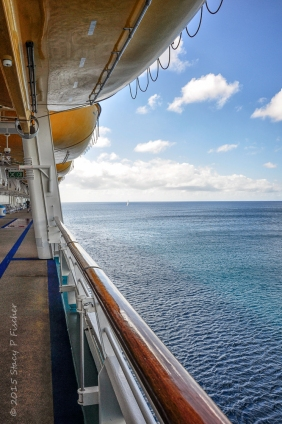 View of ocean from cruise ship deck