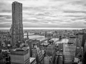 Skyline, Manhattan and Brooklyn Bridges spanning the East River connecting Lower Manhattan to Brooklyn