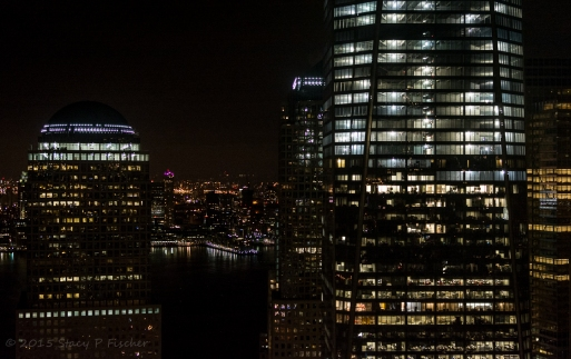 One World Trade Center and surrounding buildings at night.