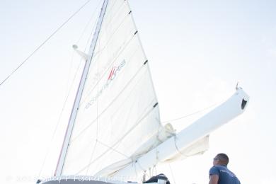 Sail of Red Sails Sports Aruba catamaran (no filter)