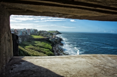 Castillo de San Cristóbal WWII artillery observation post, view of El Morro and La Perla vicinity