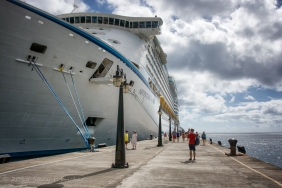 Cruise ship docked in port of Basseterre, St. Kitts