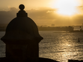 Silhouette of sentry box overlooking San Juan Bay