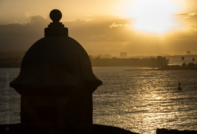 Silhouette of sentry box (garita) overlooking San Juan Harbor