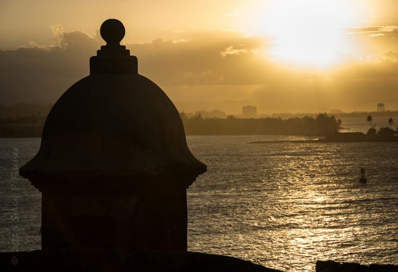 Silhouette of sentry box (garita) overlooking San Juan Harbor
