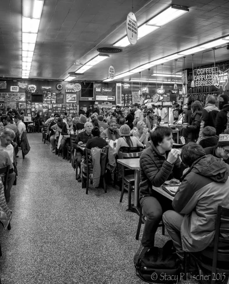 "Katz's Deli, made famous in ""When Harry Met Sally,"" lunch rush."