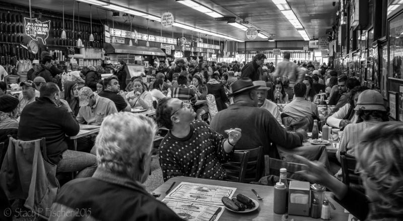 "Katz's Deli, made famous in ""When Harry Met Sally,"" lunch rush."
