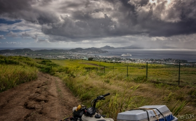 St. Kitts Quad Biking, view of Basseterre and cruise ship