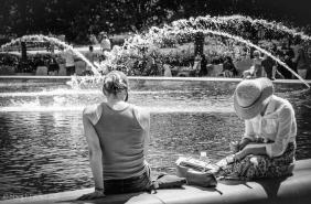Fountain, National Gallery of Art Sculpture Garden, summer.