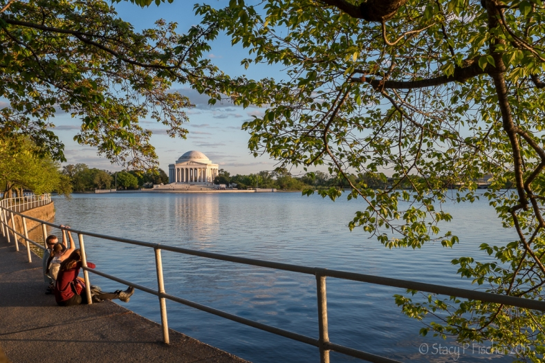 Jefferson Memorial from across the Tidal Basin, golden hour, Fuji X100T
