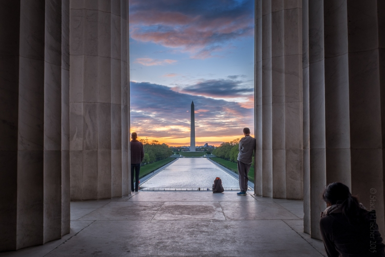 Sunrise over the Washington Monument from the Lincoln Memorial