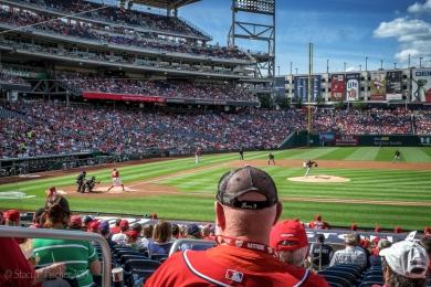 Nationals baseball game, Nats at bat