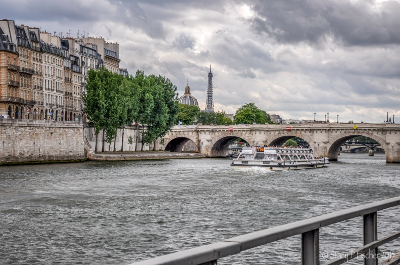 Bateaux Mouches sails toward Pont Neuf, the Eiffel Tower, and Institut de France.