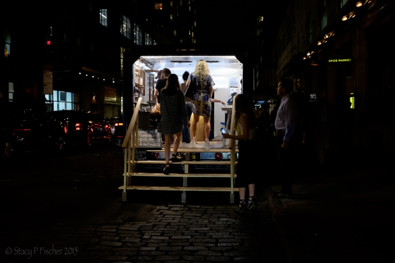 Chelsea pop-up shop at night.