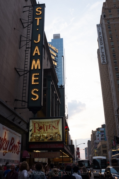 "St. James Theater Marquee ""Something Rotten""; before processing."
