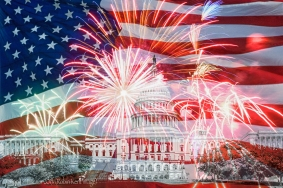 US Capitol against background of American flag and fireworks