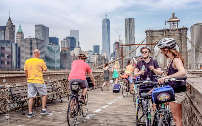 Bicyclists on Brooklyn Bridge pedestrian walkway