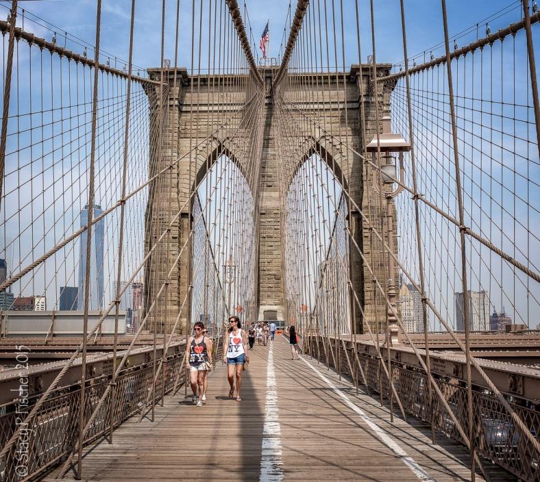 Brooklyn Bridge east span from pedestrian walkway