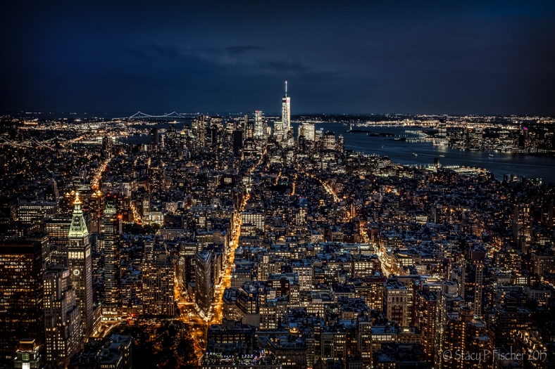 Lower Manhattan at night from top of Empire State Building