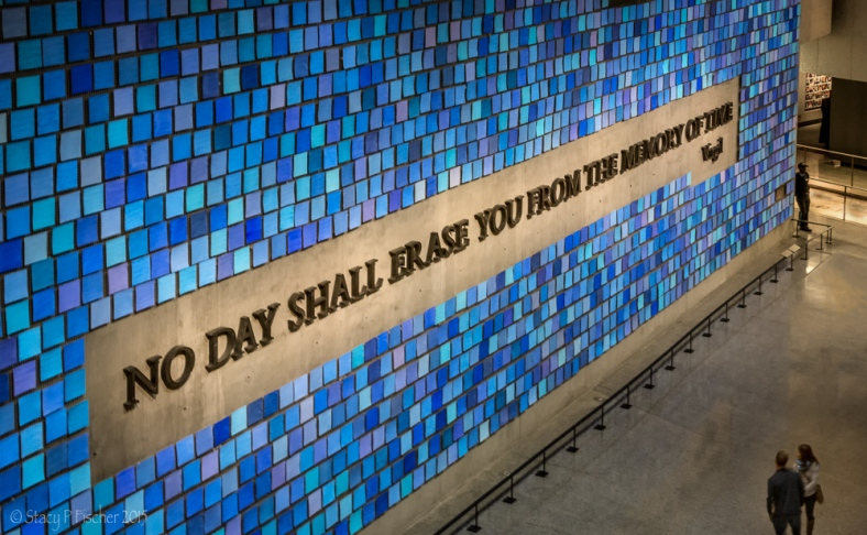 Quote from Virgil that adorns blue sky installation in Memorial Hall.