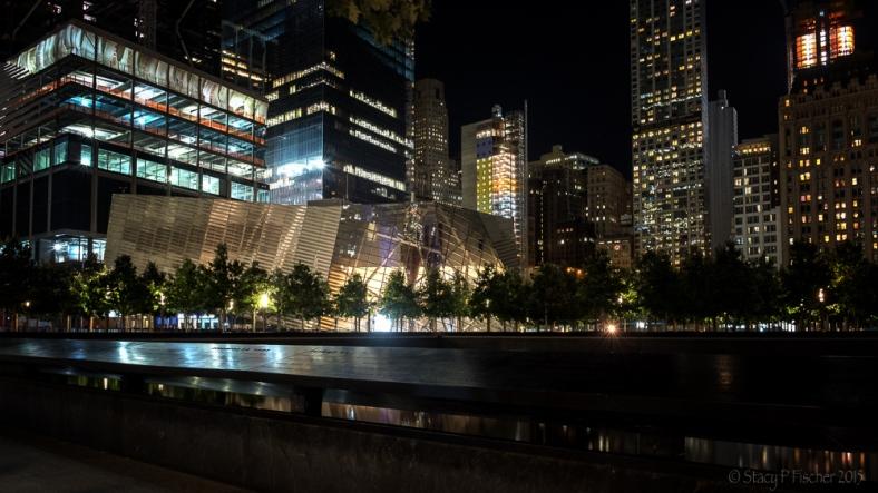 9/11 Memorial Museum exterior at night