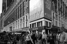 Streets outside Macy's New York City filled with pedestrians