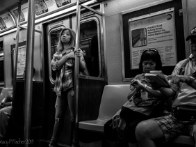 Female passenger New York City subway