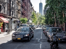 NYC World Trade Center from Sullivan Street in Greenwich Village
