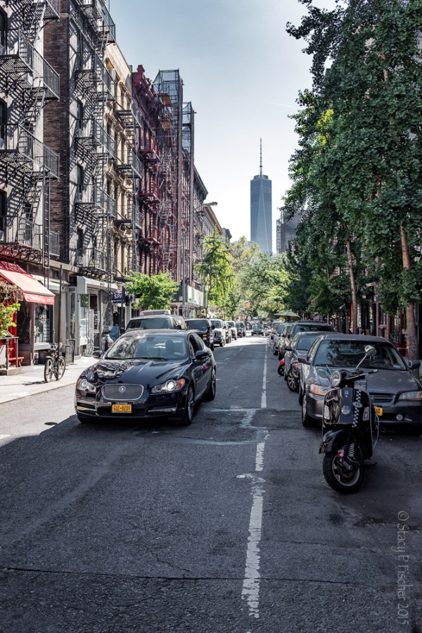 NYC World Trade Center from Sullivan Street in Greenwich Village