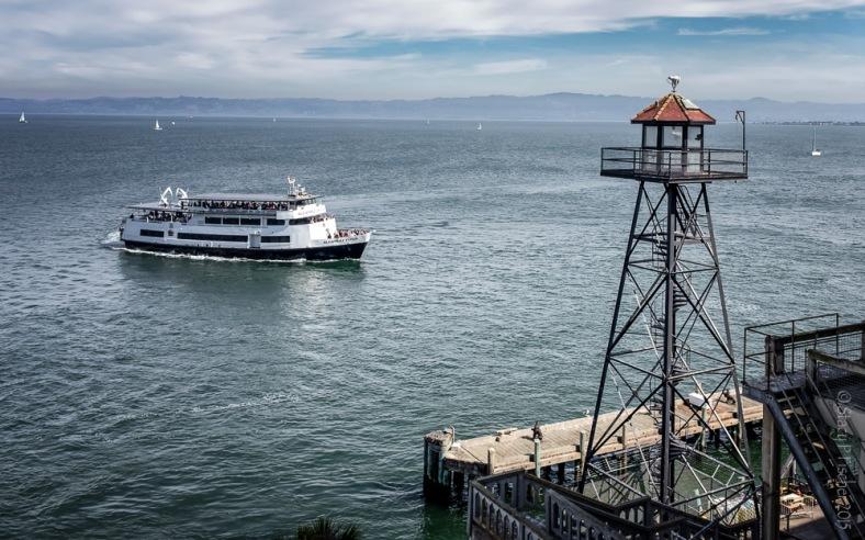 Alcatraz Island Ferry as seen from the island's main road