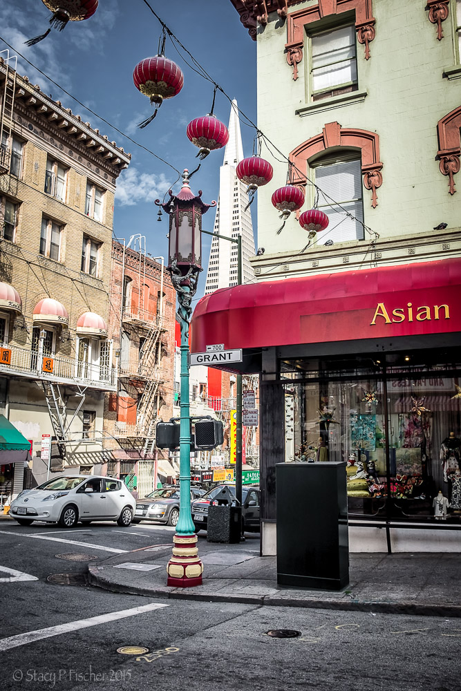 Chinatown Grant Avenue San Francisco with view of TransAmerica Building