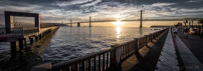 San Francisco Embarcadero Pier 14 sunrise with Oakland Bay Bridge, panorama